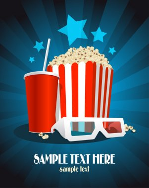 Cinema poster with popcorn box, cola and 3D glasses. stock vector