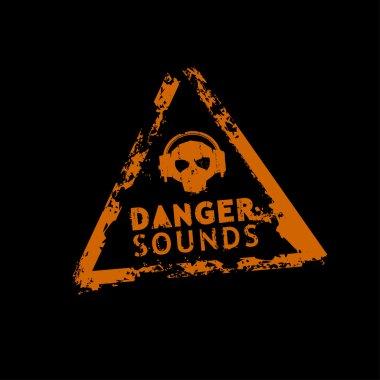 Danger sound vector rubber stamp
