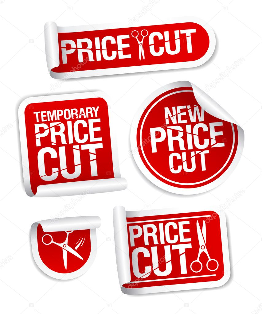 Price cut sale stickers.