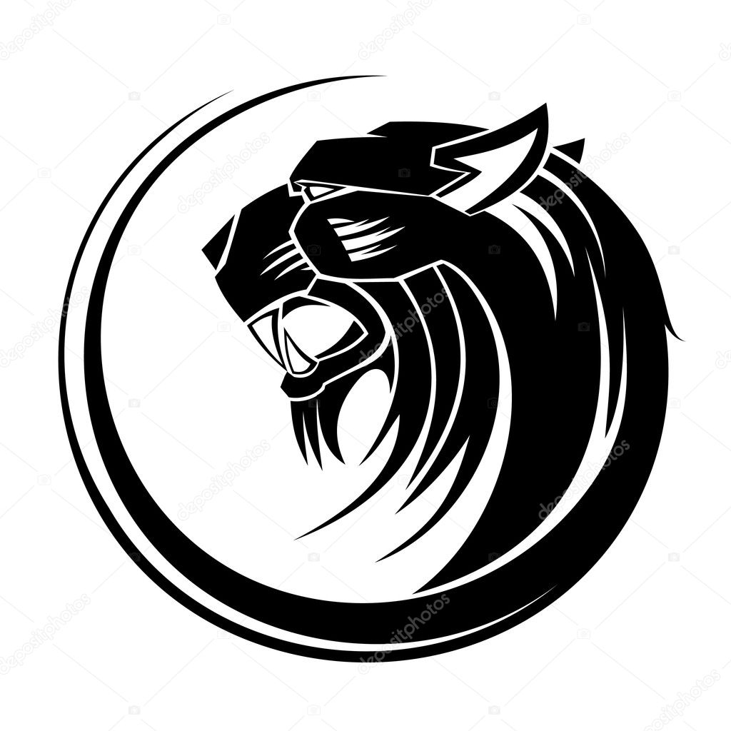 Lion circle tribal tattoo art.