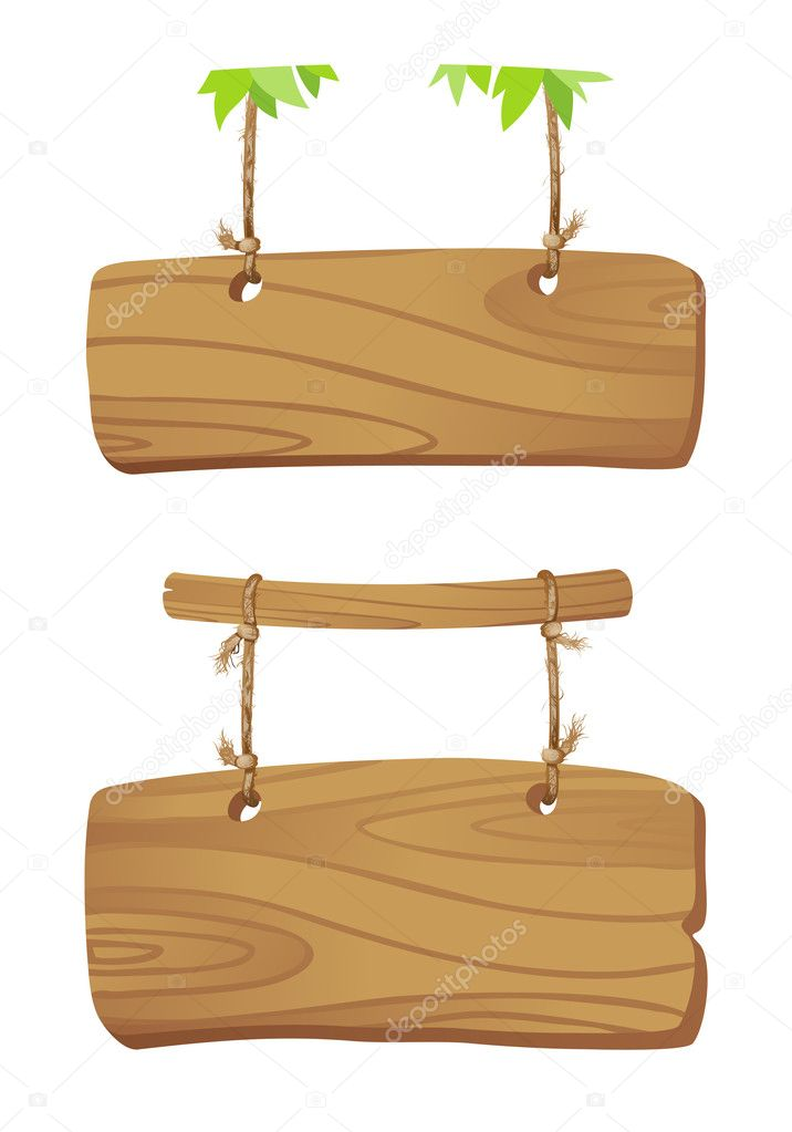 Wooden boards on a cord.