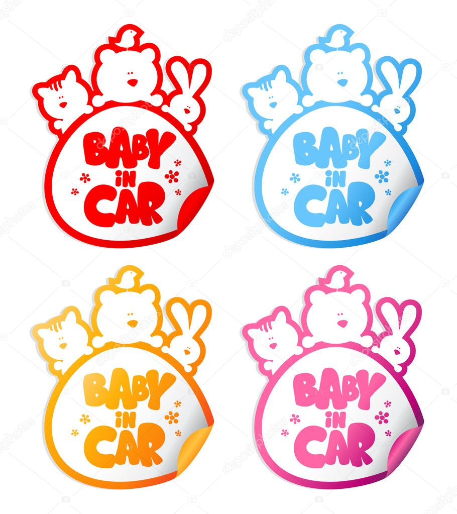Car sticker design download - Baby In Car Stickers With Funny Animals Vector By Slena