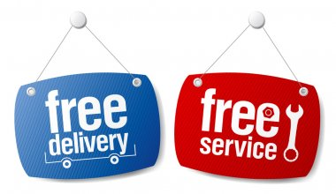 Free delivery signs.