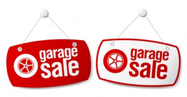 Garage for sale signs.