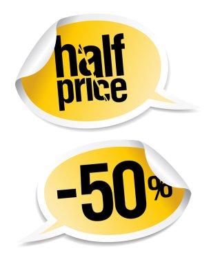 Half price sale stickers.