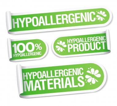 Hypoallergenic products stickers.