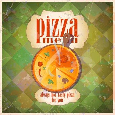 Retro pizza menu card design.