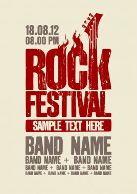 Rock festival design template with bass guitar and place for text. stock vector