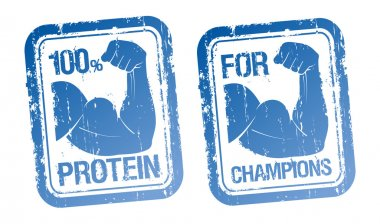 100 Protein, For Champions stamps set. stock vector