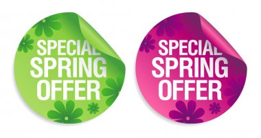 Special spring offer stickers set. stock vector