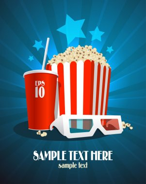 Cinema design template with snack and 3D glasses.