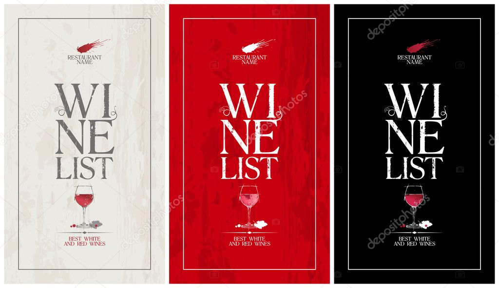 Wine List Menu TemplateSet  Stock Vector  Slena