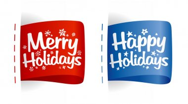 Happy Holidays labels. clip art vector