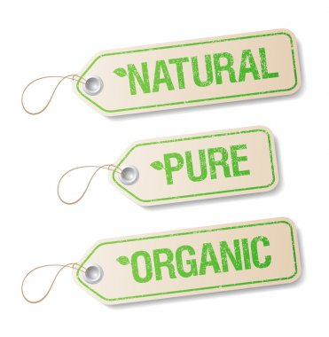 Natural, Pure, Organic labels.