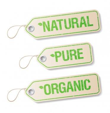Natural, Pure, Organic labels.