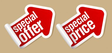 Special offer stickers.
