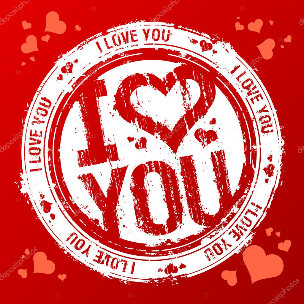 I love you vector rubber stamp. clipart vector