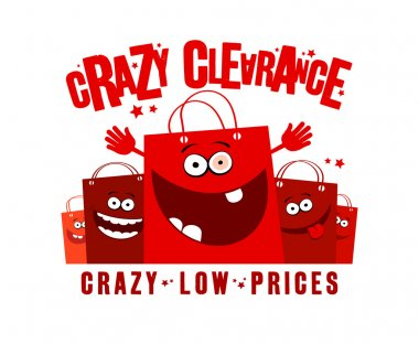 Crazy clearance illustration with bags