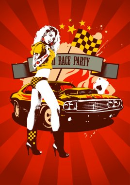 Motor race party design retro red