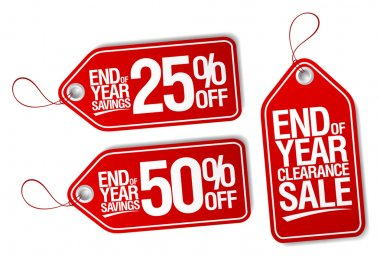 End of year savings labels set.