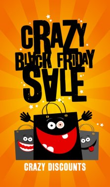 Crazy black friday sale design with bags.