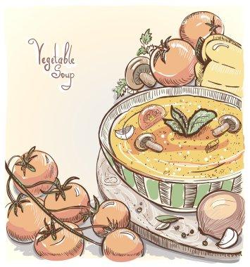 Illustration of vegetable soup.