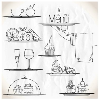 Graphic illustration with catering symbols.