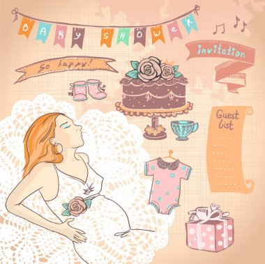 Cute hand drawn graphic set with pregnant woman.