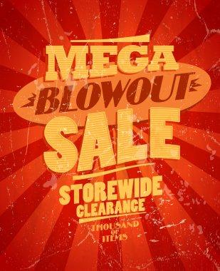 Mega blowout sale, storewide clearance design.