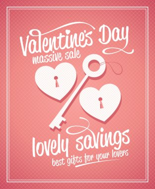 Valentine day massive sale typographic design with key and hearts. clip art vector