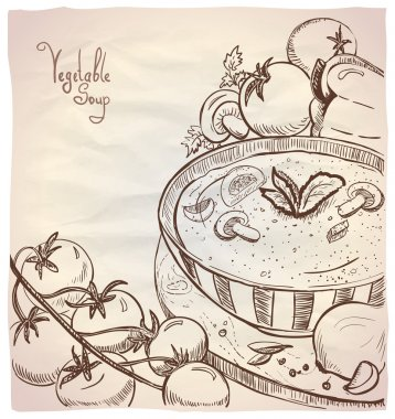 Graphic illustration of vegetable soup with mushrooms.