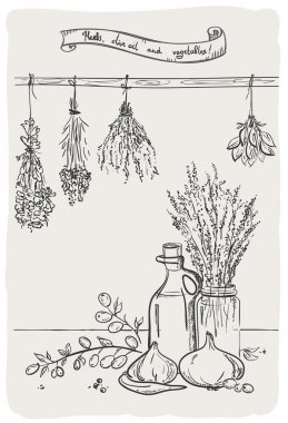 Graphic still life with herbs and olive oil.