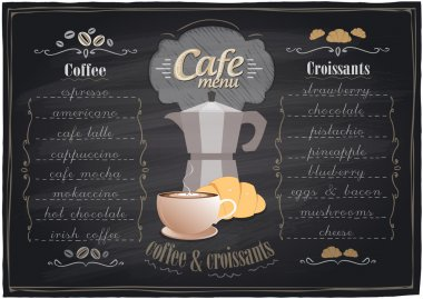 Vintage chalk coffee and croissants menu.