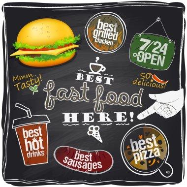 Best fast food here, chalkboard background.