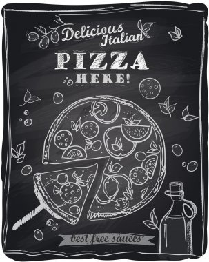 Chalk pizza with the cut off slice.
