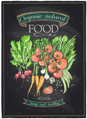 Chalkboard organic natural food.