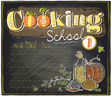 Cooking school chalkboard with place for text.