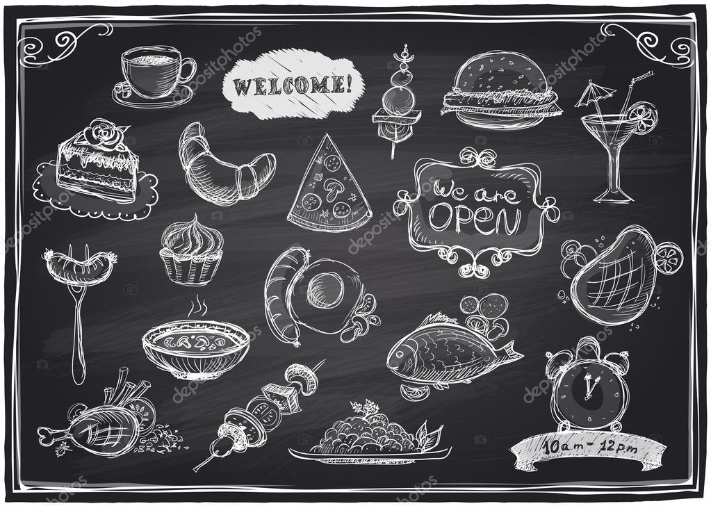 Hand drawn assorted food and drinks graphic.
