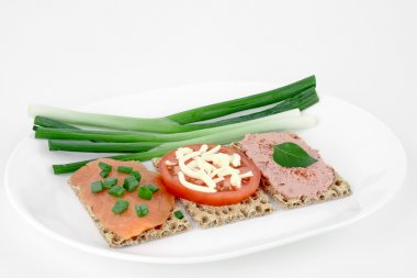 Crispbread with salmon,tomato, pasty and green onion