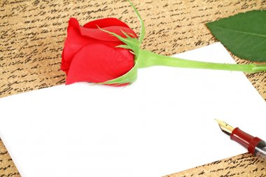 Red rose with a blank note