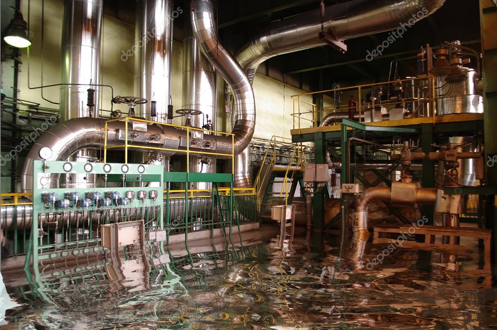 Flooded pipes, tubes, machinery and at a power plant