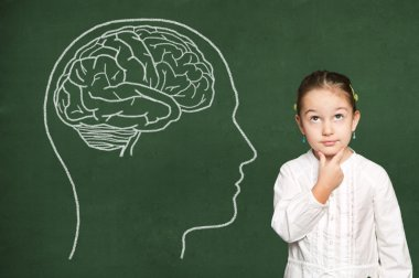 Brain in head on chalkboard
