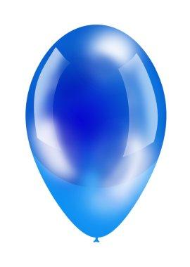 blue big shiny balloon isolated on white
