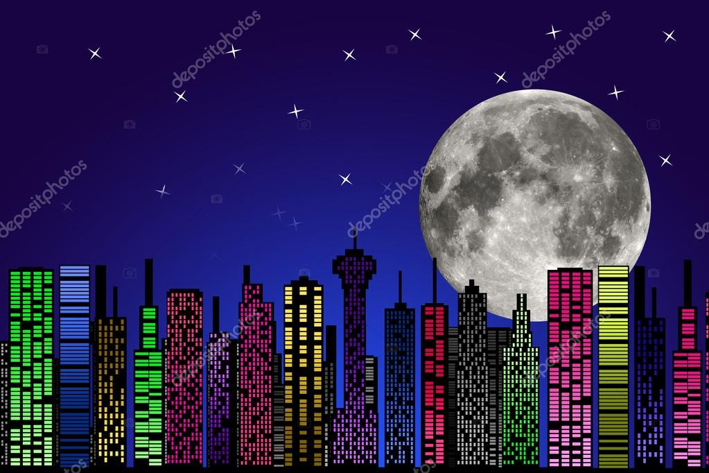 Imagenes De Edificios En Caricatura: Ciudad De Noche. Silueta De Edificios