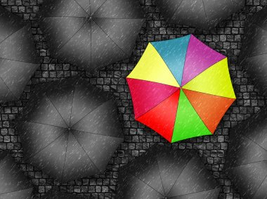 Many colors umbrella. Bright umbrella among set of black umbrell