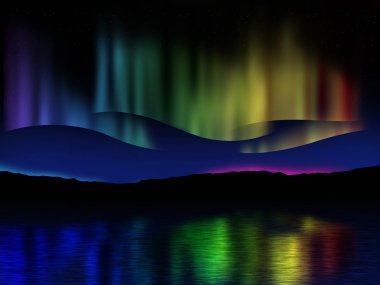 Northern lights (Aurora borealis) reflection across a lake in Ic