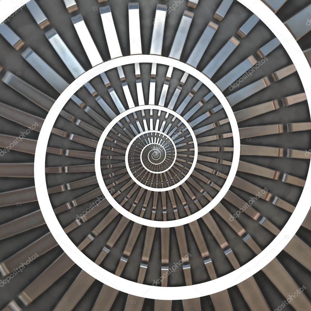 Intricate metallic blue abstract spiral, cog fractal.