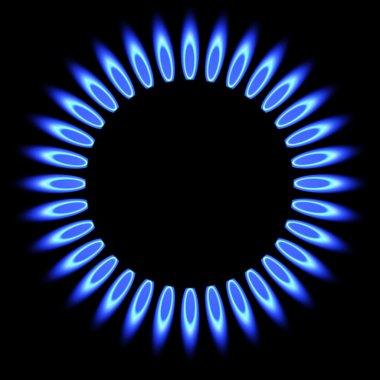 Natural gas flame. gas stove burner.