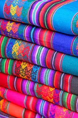 South American hand made colourful fabric, Peru.