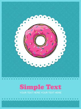 Doughnut greeting card with ornamental background.
